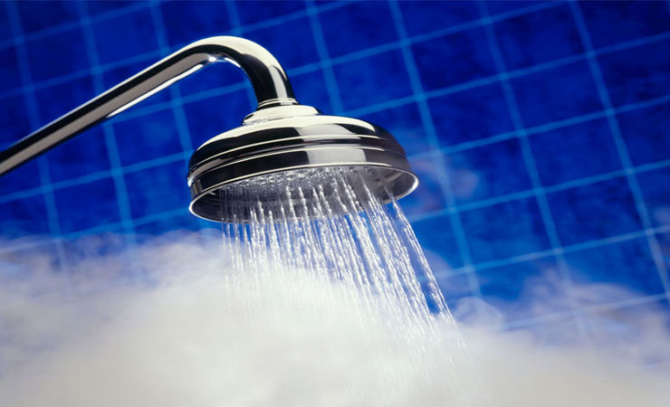 Steaming hot shower