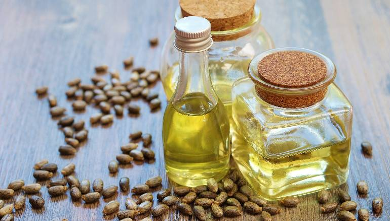 Castor oil bottle and castor beans