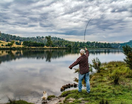 Man fly-fishing in idyllic scenery