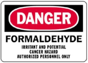 Warning label for the dangers of formaldehyde