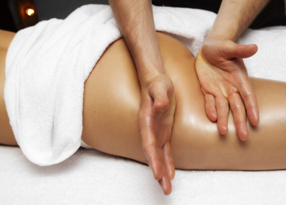 Anti cellulite massage on the thigh